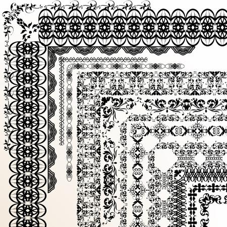 bordes decorativos: Conjunto de vector de fronteras decorativas del ornamento para el diseño Vectores
