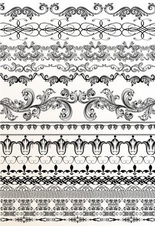 vintage design: Set of vector decorative borders from ornament in vintage style  for design Illustration