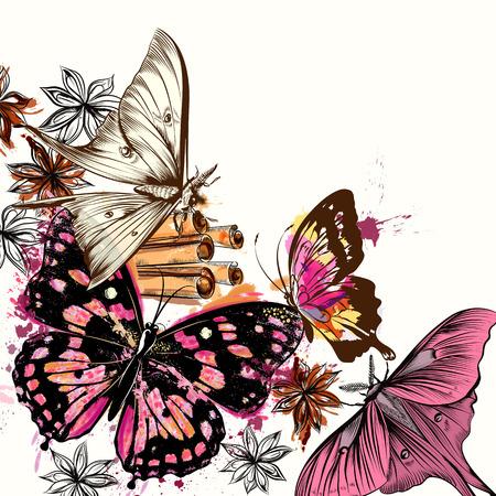 silhouette papillon: Illustration avec des papillons de vecteur et des taches d'aquarelle