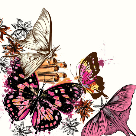 butterfly background: Illustration with vector butterflies and watercolor spots Illustration