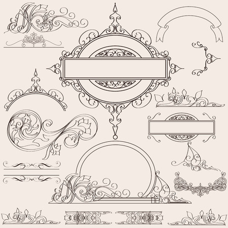 calligraphic: Collection or set of vector calligraphic flourishes for design Illustration