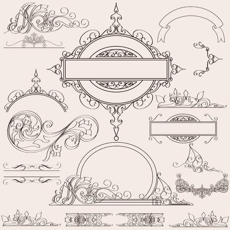bordure de page: Collection ou un ensemble de vecteur calligraphique fleurit pour la conception