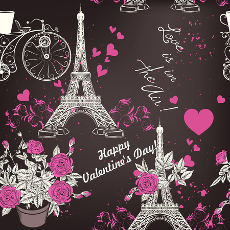 eifel tower: Seamless romantic background with Eifel tower roses and hearts love is in the air