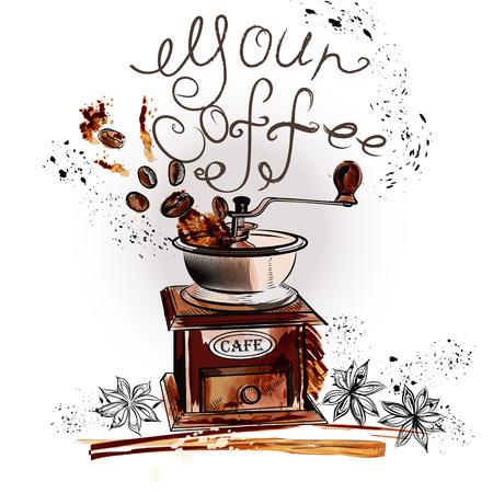 Grunge coffee background with coffee grinder anise stars and grains your coffee Illustration