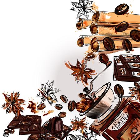 chicchi di caff?: Grunge caffè sfondo con macinino stelle di anice e chicchi tostati in stili inciso e acquerello
