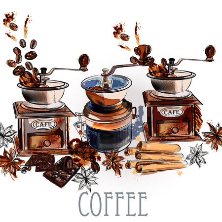 anise: Coffee vector  background with coffee grinder anise stars and roasted beans in engraved and watercolor styles Illustration
