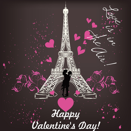 bonjour: Greeting Valentines Day card with Eifel tower couple and hearts love is in the air