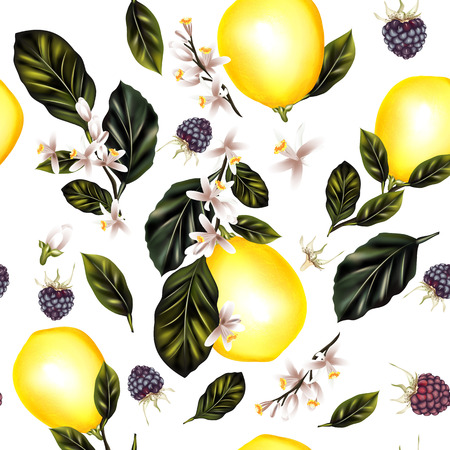 Seamless pattern with lemon tree branches  lemons leafs and flowers