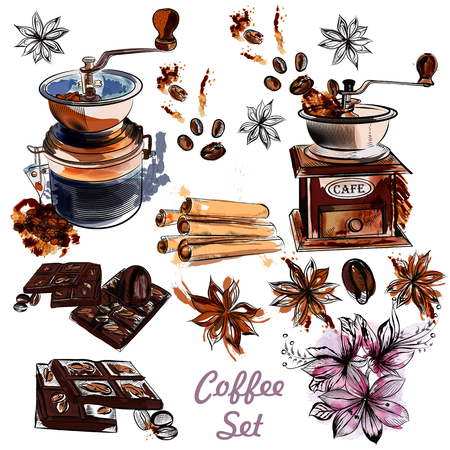 coffee bean: Coffee vector set with coffee grinder anise stars and roasted beans in engraved and watercolor styles Illustration