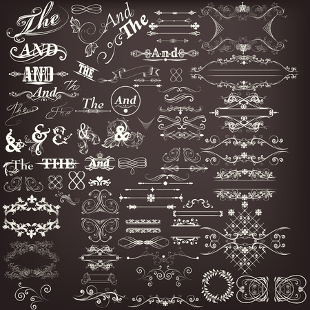 formal: Collection or set of vector decorative elements flourishes swirls and calligraphy