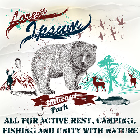 national parks: Design of vintage styled poster or flayer for national parks with mountains bear and fish all for active rest camping and fishing Illustration