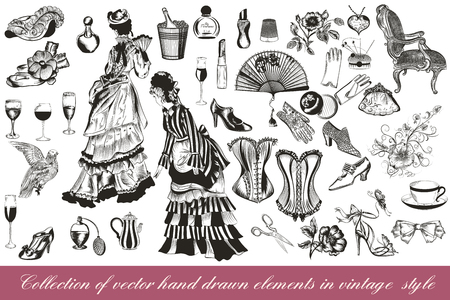 A collection or big set of hand drawn vintage styled elements lady accessories chairs flowers corsets and other Illustration