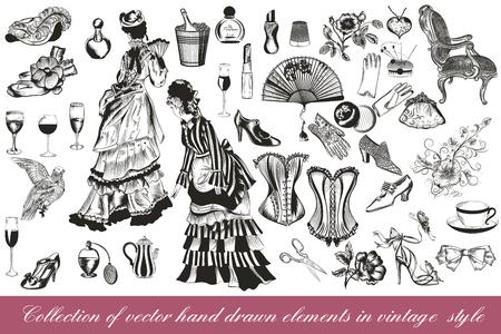 Una colección o un gran conjunto de elementos accesorios de la señora de la vendimia de estilo dibujado a mano sillas flores corsés y otros