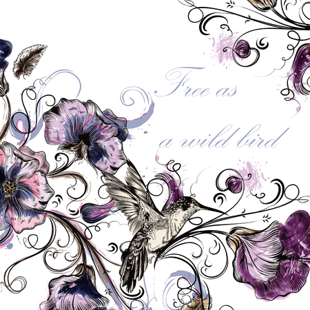 Beautiful floral background with flowers and hummingbird in watercolor style Illusztráció