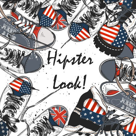 fashion shoes: Fashion stylish background with all-star shoes decorated by USA and British flags stylish hipster look