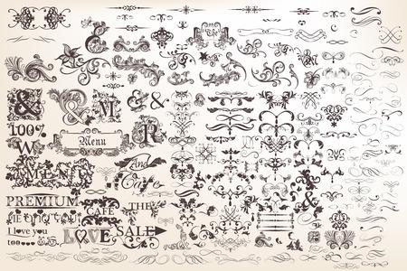 Mega colección o conjunto de vector dibujado a mano elementos caligráfico y decoraciones de página para el diseño