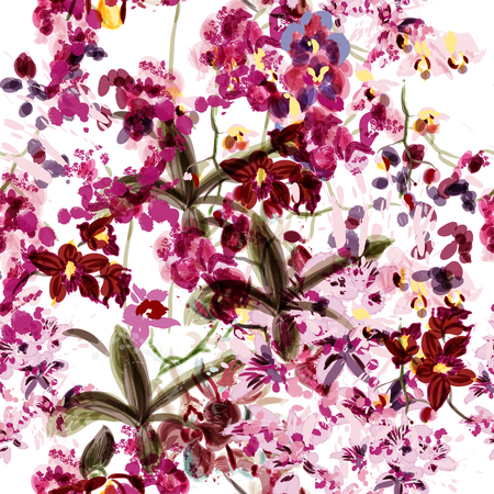 spot: Beautiful seamless wallpaper with orchid flowers painded by watercolor and ink spots