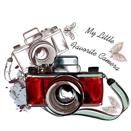 papillon: appareil photo vintage avec des papillons ma pr�f�r�e de l'appareil photo