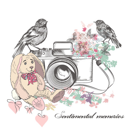 romantic card with old camera birds flowers and toy rabbit in vintage rustic style