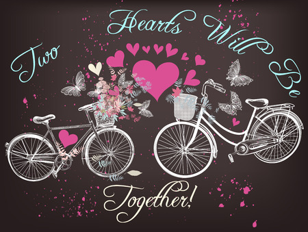 two hearts together: Greeting  Valentines Day card with two bicycles with  flowers  and hearts two hearts will be together love theme