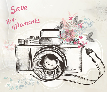 moments: Illustration with vintage camera flowers and butterflies save best moments