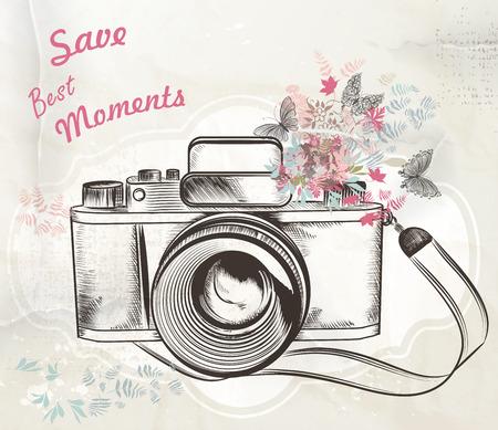 macchina fotografica: Illustrazione con fiori e farfalle macchina fotografica d'epoca salvare i momenti più belli
