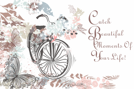 pedaling: bicycle with butterflies and florals rustic style Illustration