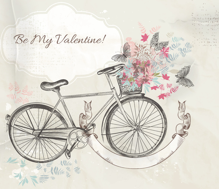 flower baskets: Valentines Day card with   bicycle and flowers  rustic style Illustration