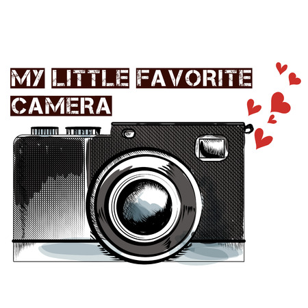picture card: Cute fashion background with  vintage camera my favorite camera
