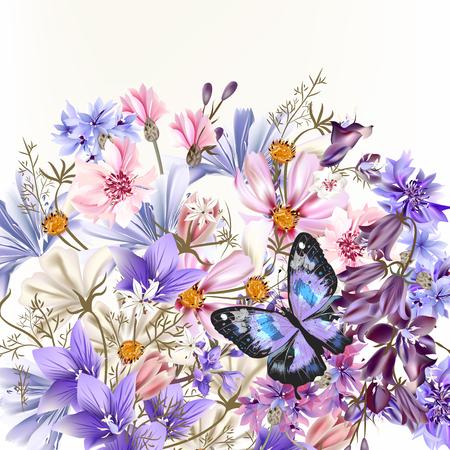 Illustration avec des fleurs de champ réaliste vecteur été et le thème du printemps