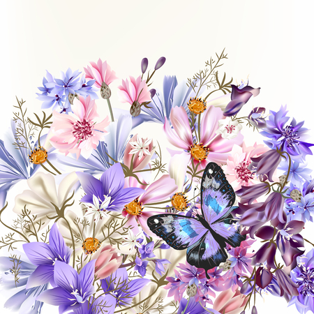 Illustration with vector realistic field flowers summer and spring theme