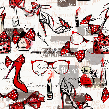 Fashion vector background with female shoes on a high heels glasses bags red lipstick and perfumes