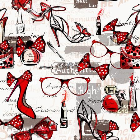 fashion: vecteur de mode de fond avec des chaussures femmes sur un des hauts talons lunettes sacs rouge à lèvres rouge et parfums Illustration