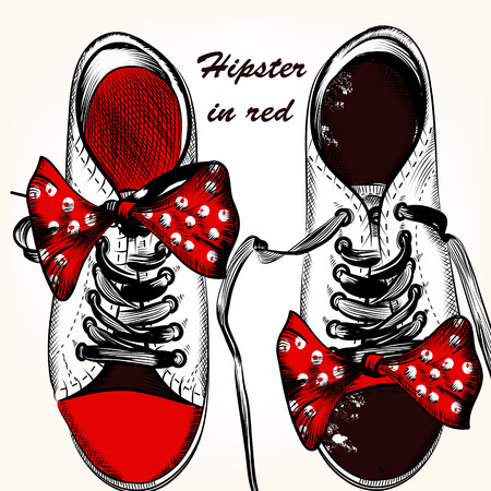 red boots: Fashion background with hipster red  sneakers or sport boots hand drawn vector  illustration