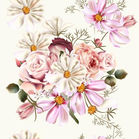 kosmos: Vector nahtloser Hintergrund oder Muster mit Rose und Kosmos Blumen im Retro-Stil