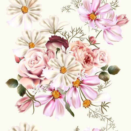 kosmos: Vector seamless background or pattern with rose  and cosmos flowers in retro style
