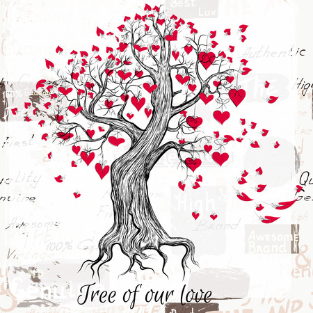 love tree: Hand drawn Valentines Day tree with red hearts tree of our love