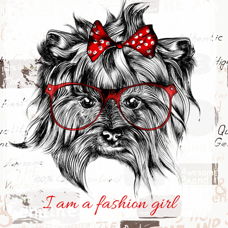 Hand drawn hipster dog with red bow and glasses fashion girl