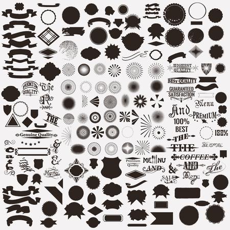 Mega colección o conjunto de formas vectoriales sunbursts firmas para la creación de etiquetas y escudos en estilo retro Ilustración de vector