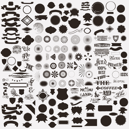 Mega collection or set of vector shapes sunbursts signatures  for labels and badges creation in retro style