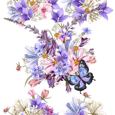 campo de flores: Modelo floral inconsútil del vector transparente con flores azules del campo campanas acianos cosmos y otra Vectores