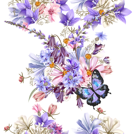 Clear seamless vector floral pattern with field flowers blue bells cornflowers cosmos and other