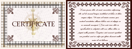 vintage document: Collection of vector certificates in vintage style for document designs