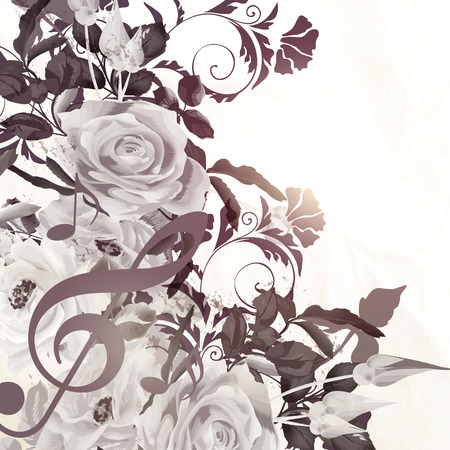 monochromic: Grunge vector background with roses in vintage sepia style