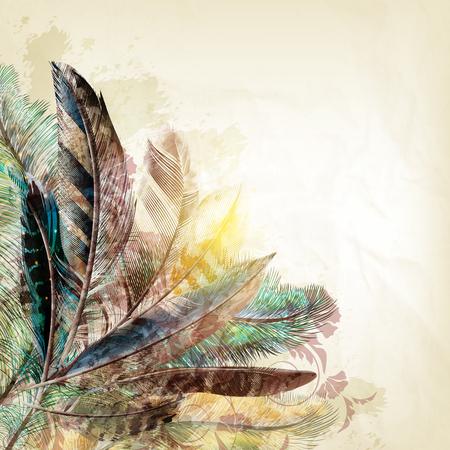 Moda piuma illustrazione elegante in stile grunge vintage con le piume colorate realistici Vettoriali