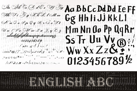 old style: English ABC  vector collection set from two fonts for design