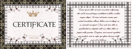 bordure de page: Collection des certificats de vecteur dans le style vintage Illustration