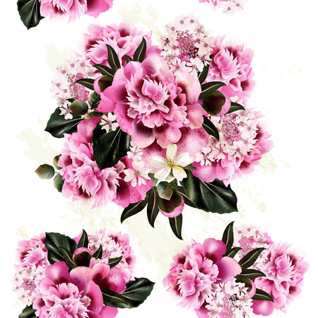 fresh flowers: Fresh spring background with pink peony flowers