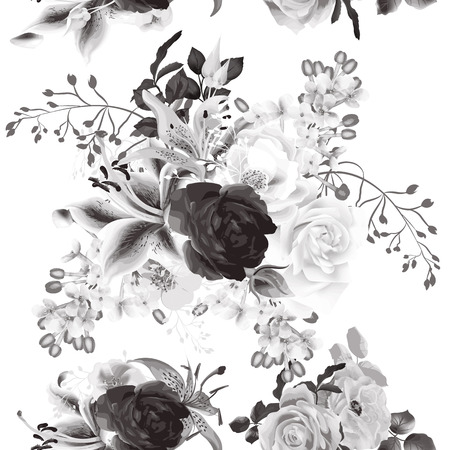 victorian pattern: Elegant seamless background with roses in monochromic sepia style