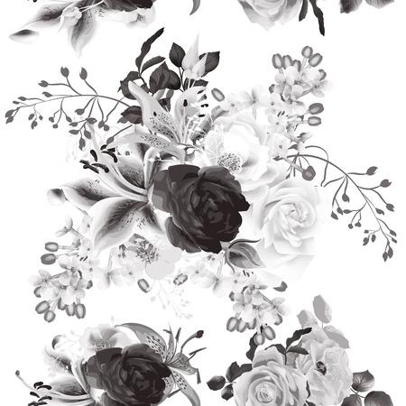 seamless background élégant avec des roses dans le style sépia monochromic Vecteurs